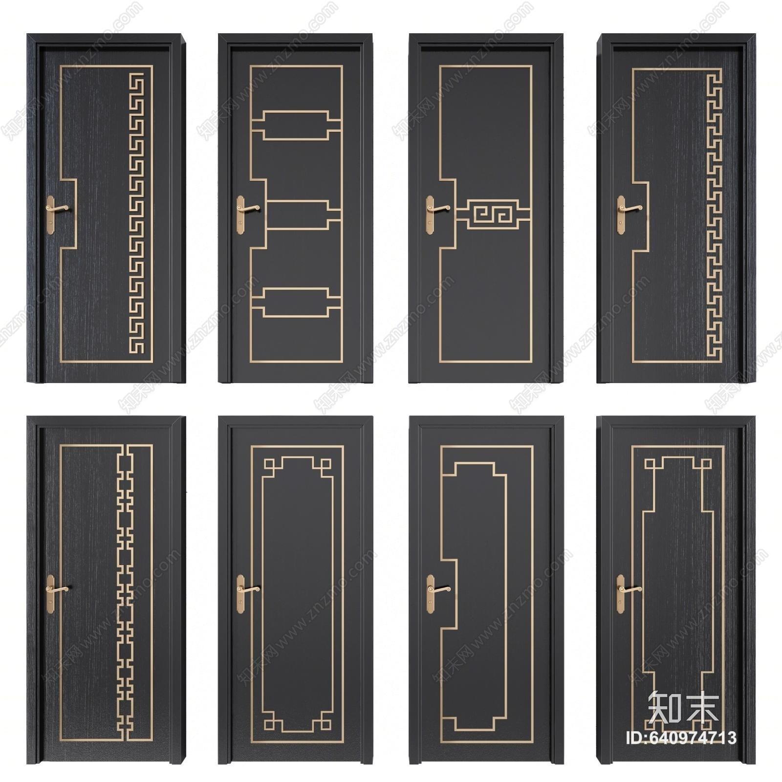 新中式单开门 平开门 房门 卧室门