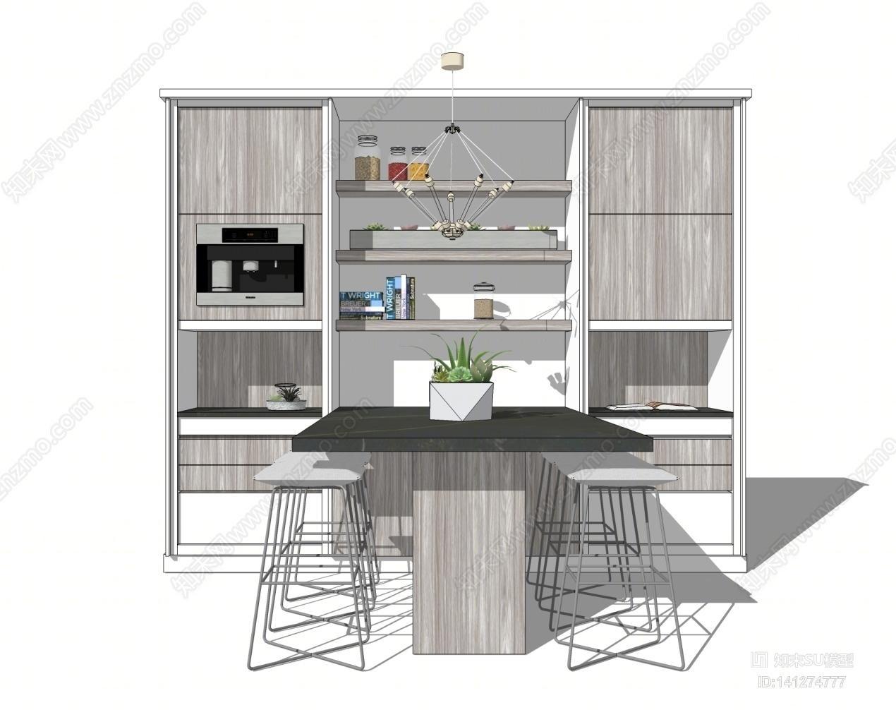 现代餐厅餐桌椅酒柜组合