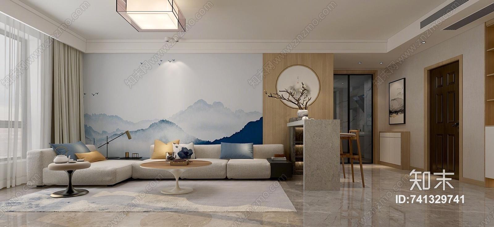 新中式客餐厅 山水壁画 吧台