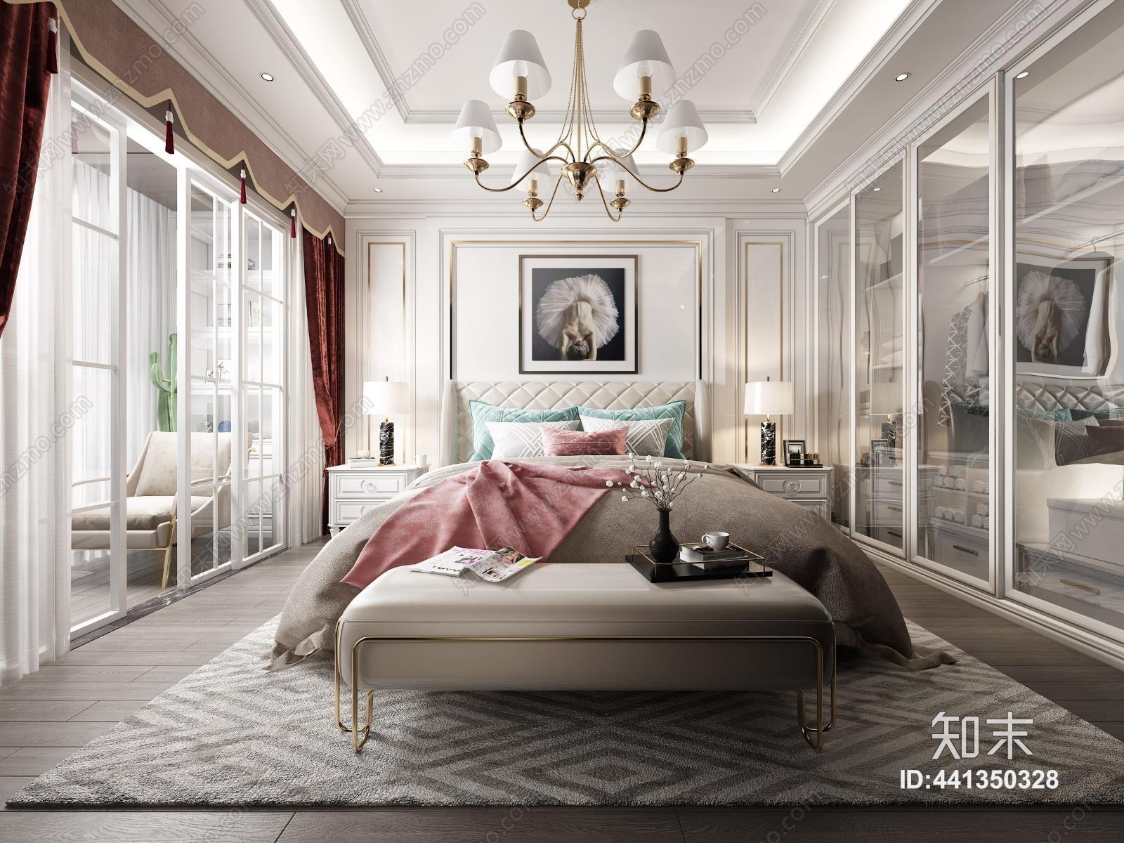 简欧现代 卧室 床 衣柜