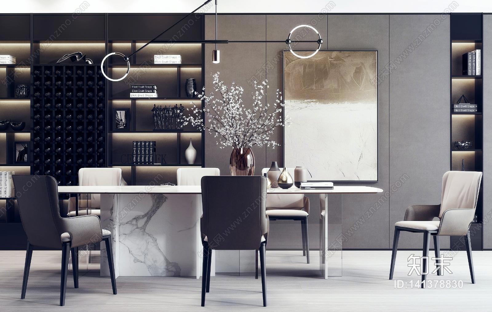 现代餐桌椅 花卉 挂画组合