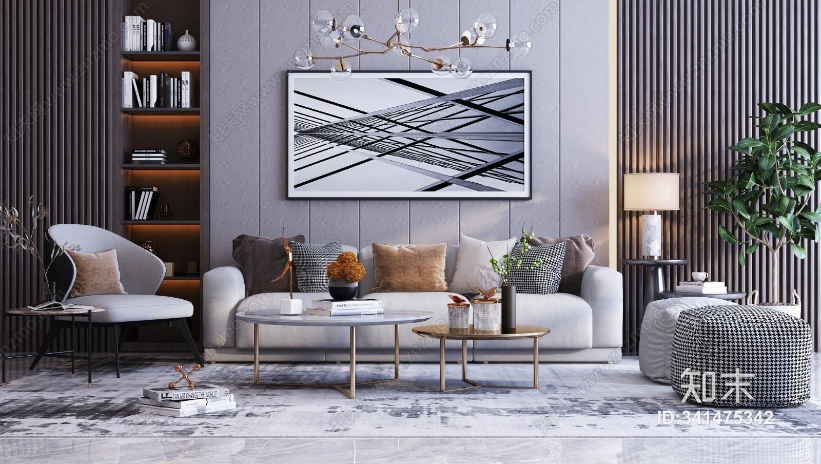 现代简约沙发茶几组合 挂画 休闲椅 吊灯 装饰品 书籍 摆件