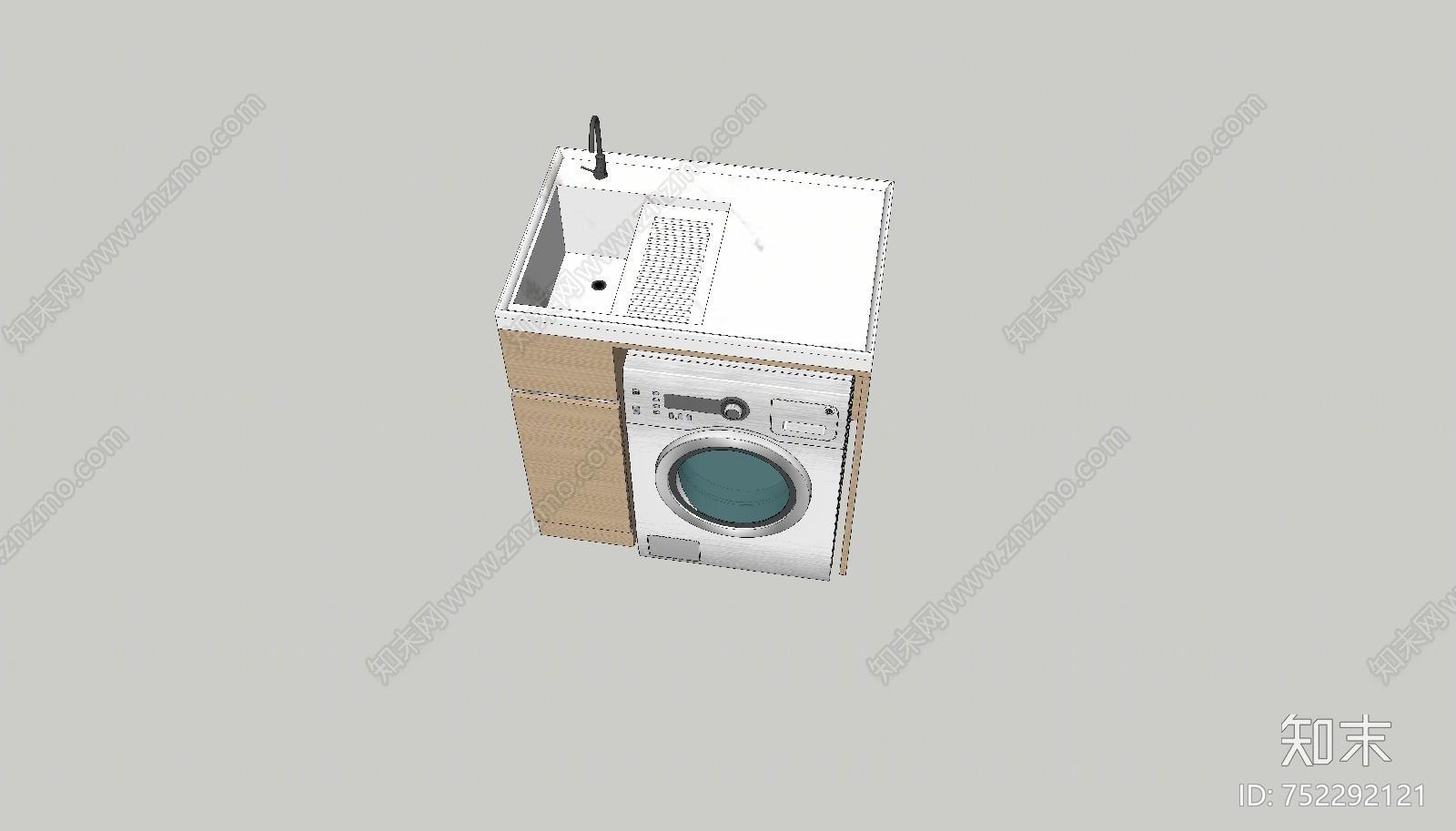 现代风格洗衣机柜SU模型下载【ID:752292121】