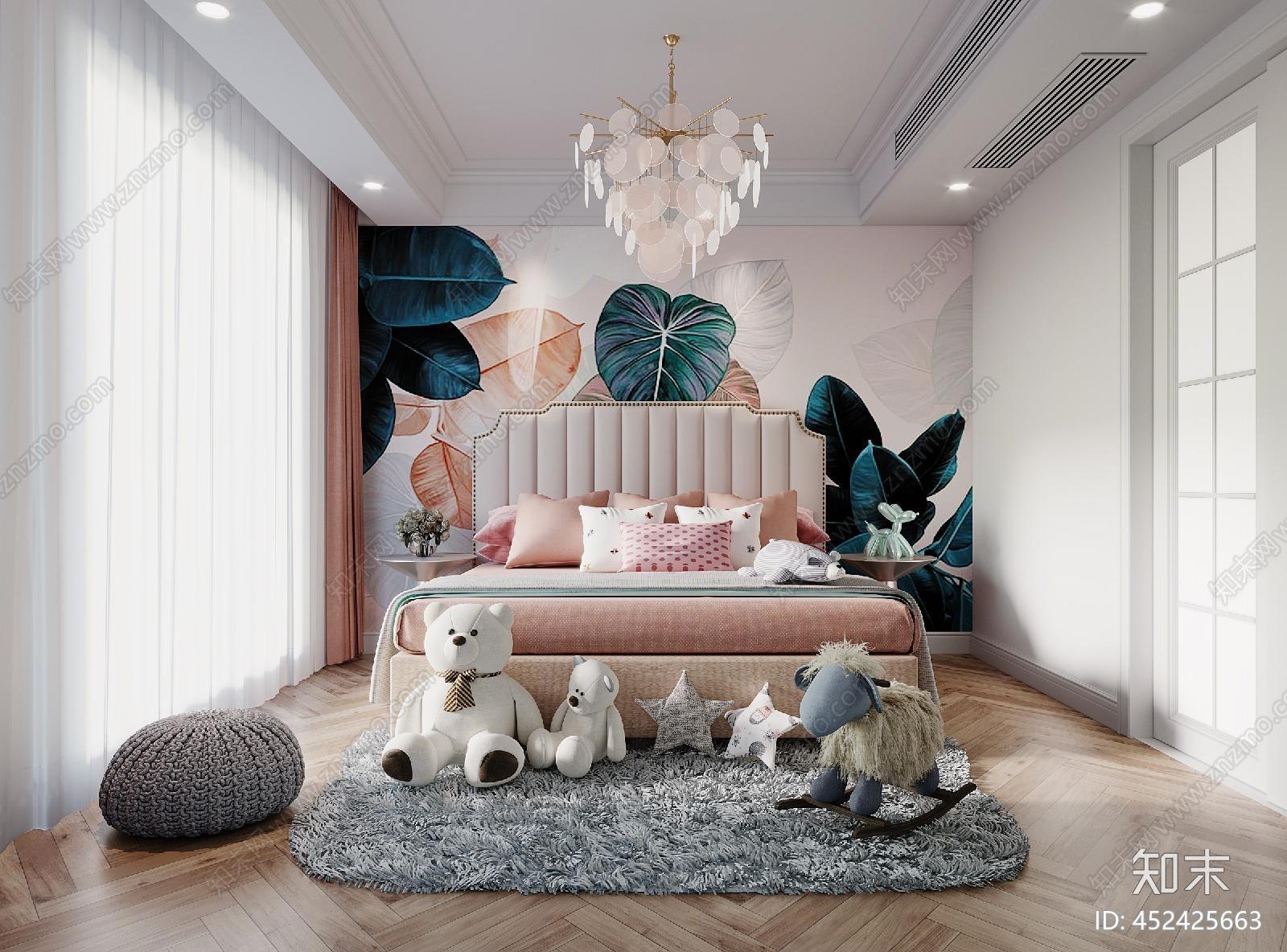 简欧儿童房 娃娃 床 背景 吊灯 窗帘