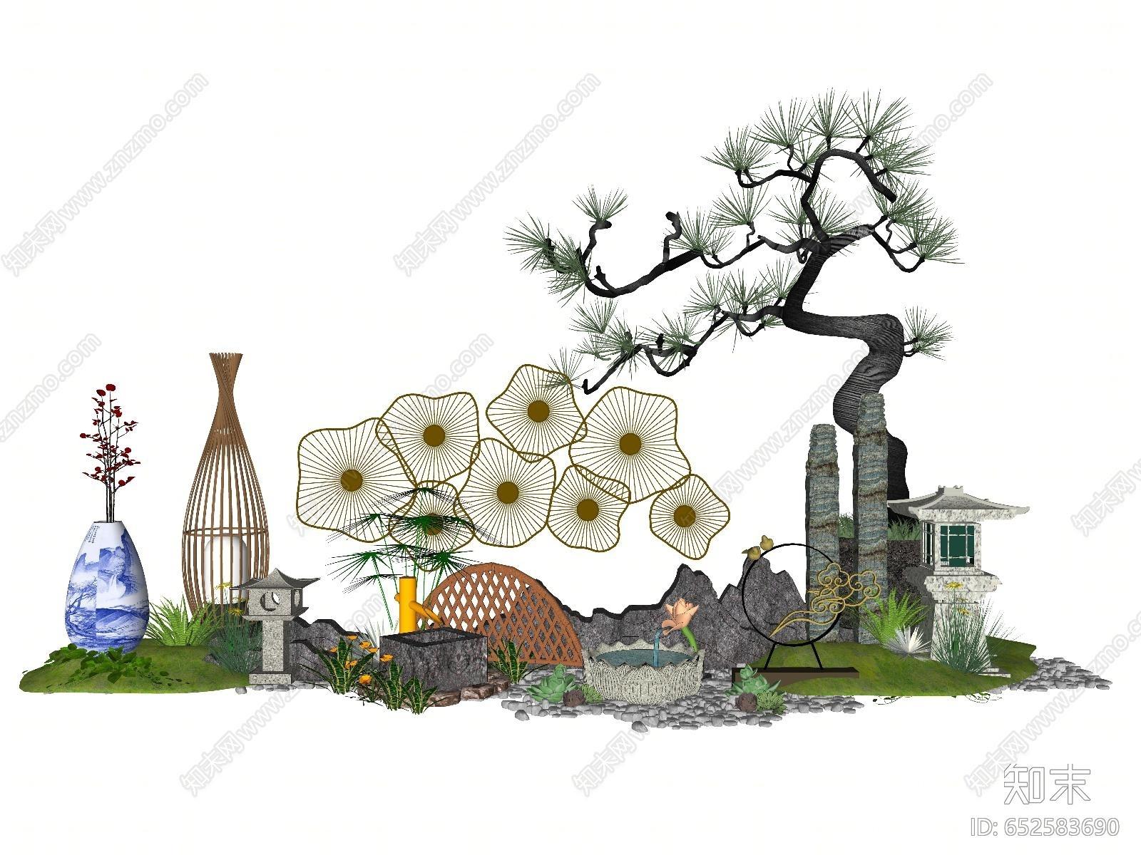 新中式风格禅意庭院景观小品组合SU模型下载【ID:652583690】