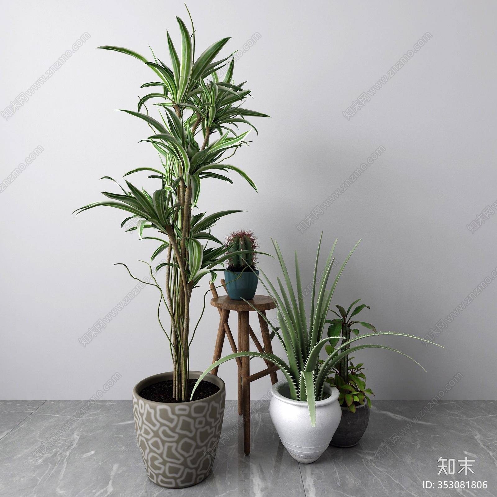 现代盆栽3D模型下载【ID:353081806】