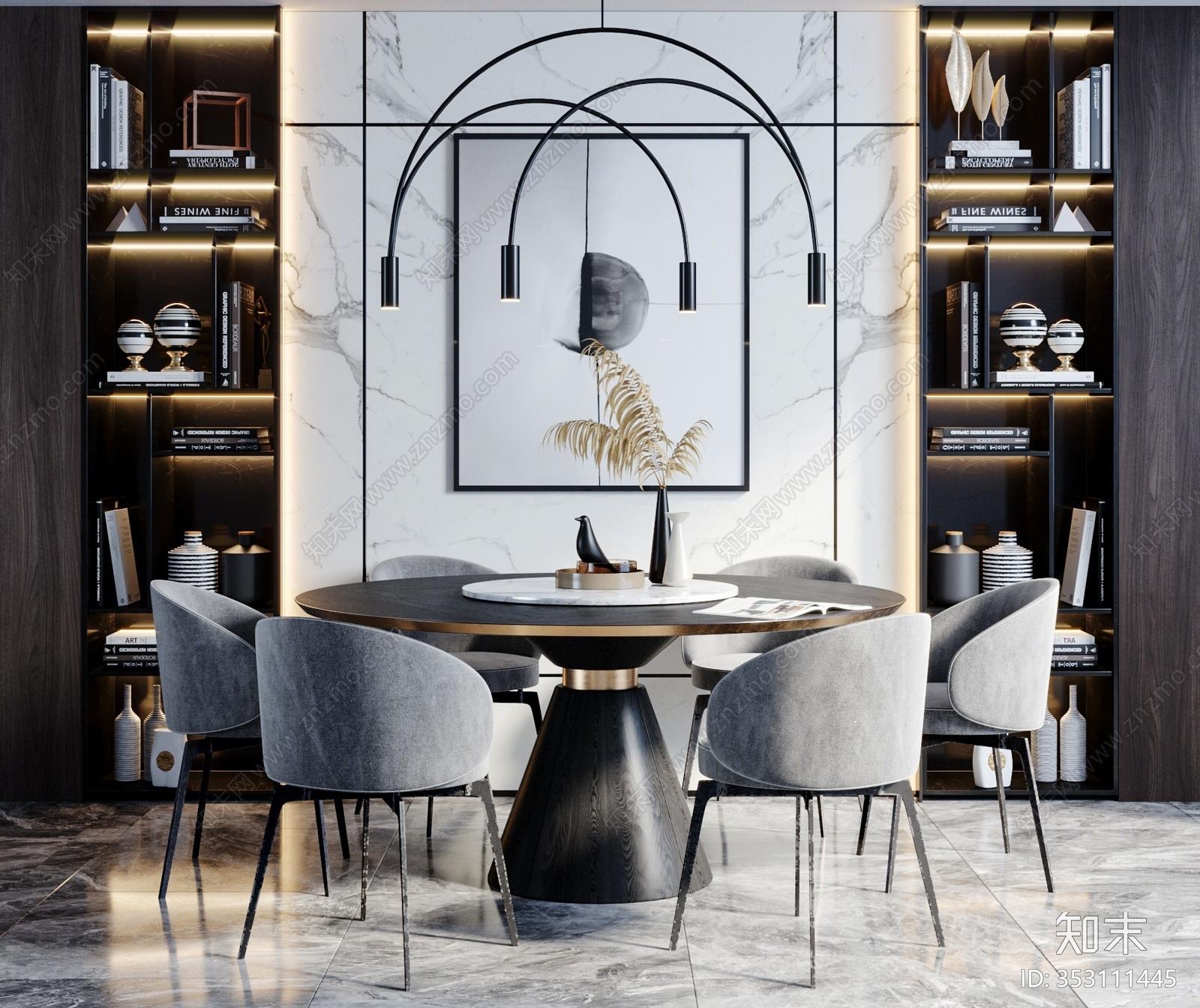 现代餐桌椅 餐厅 吊灯 餐具 餐桌 单椅 餐椅 花瓶 饰品 摆件 挂画