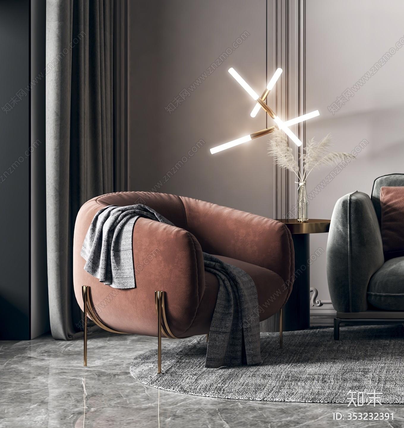 现代轻奢沙发茶几组合3D模型下载【ID:353232391】