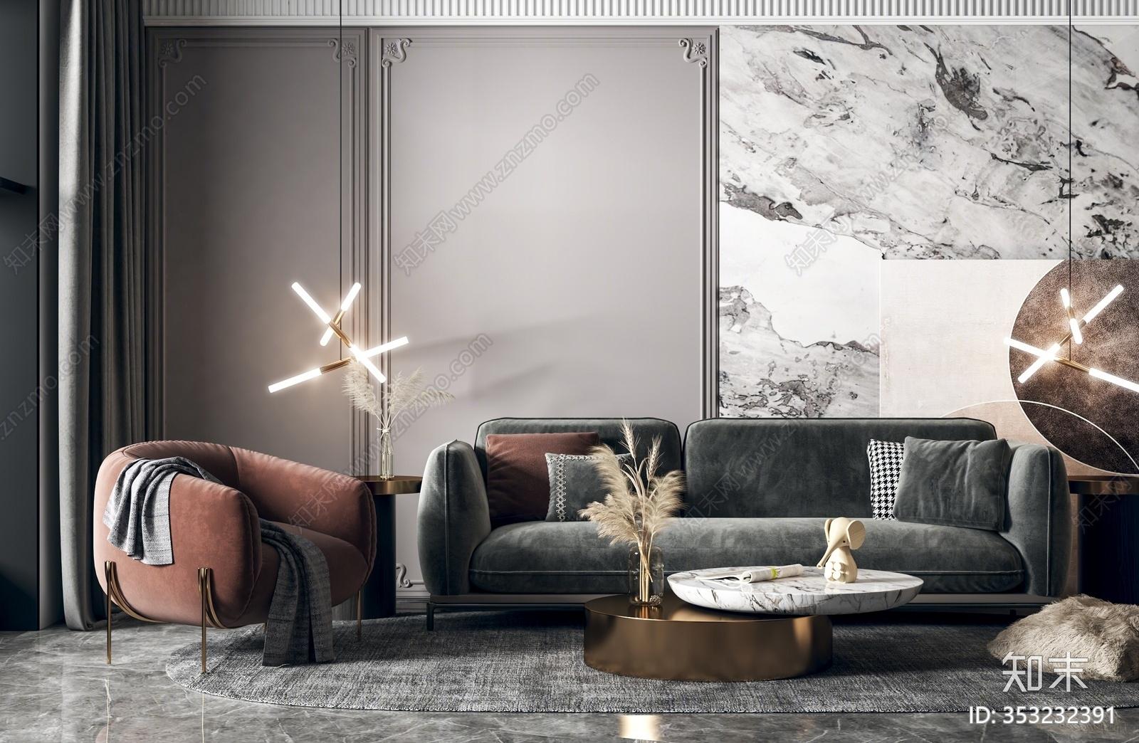 现代轻奢沙发茶几组合 多人沙发 单人沙发 茶几 吊灯