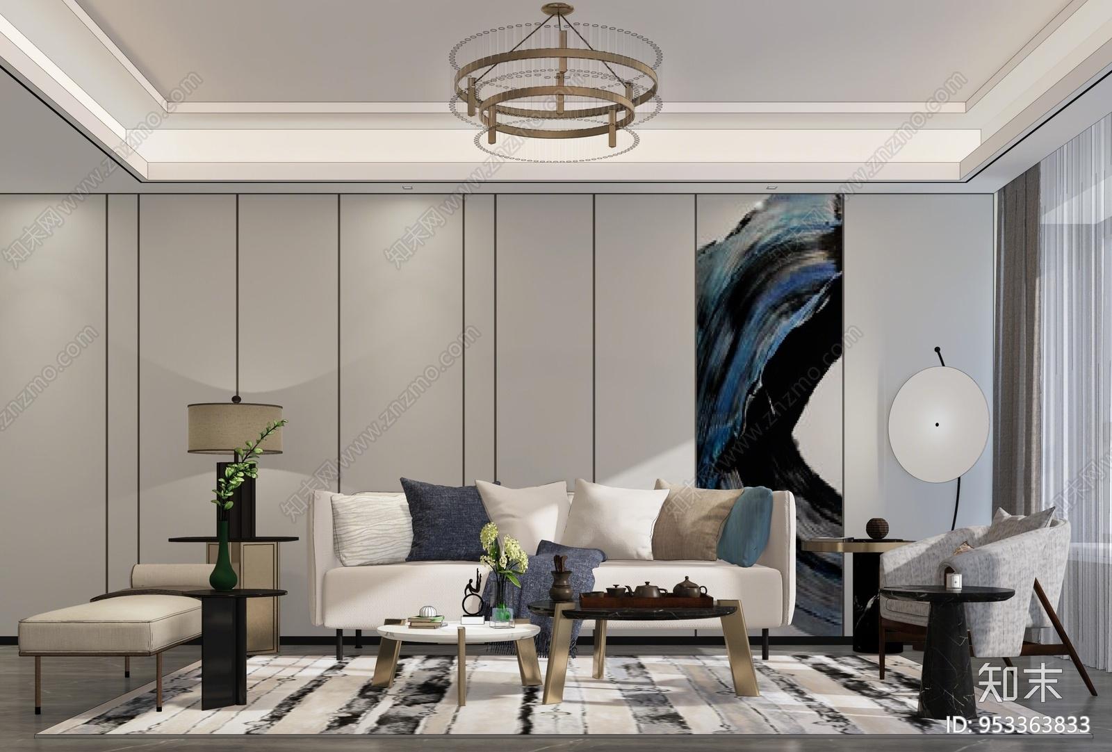 现代风格家居客厅SU模型下载【ID:953363833】