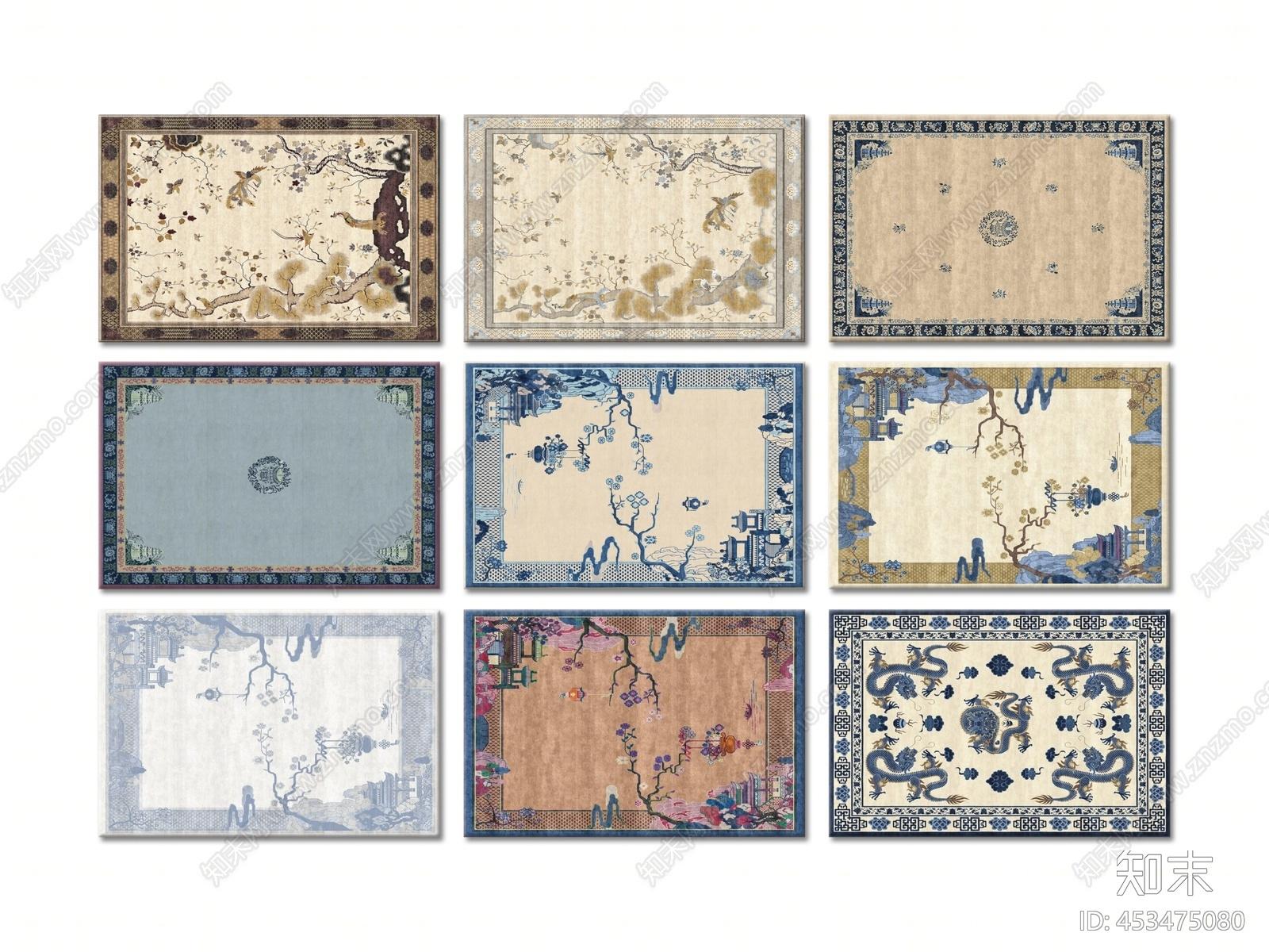 中式方形地毯 中国画装饰山水花鸟装饰 纹样装饰