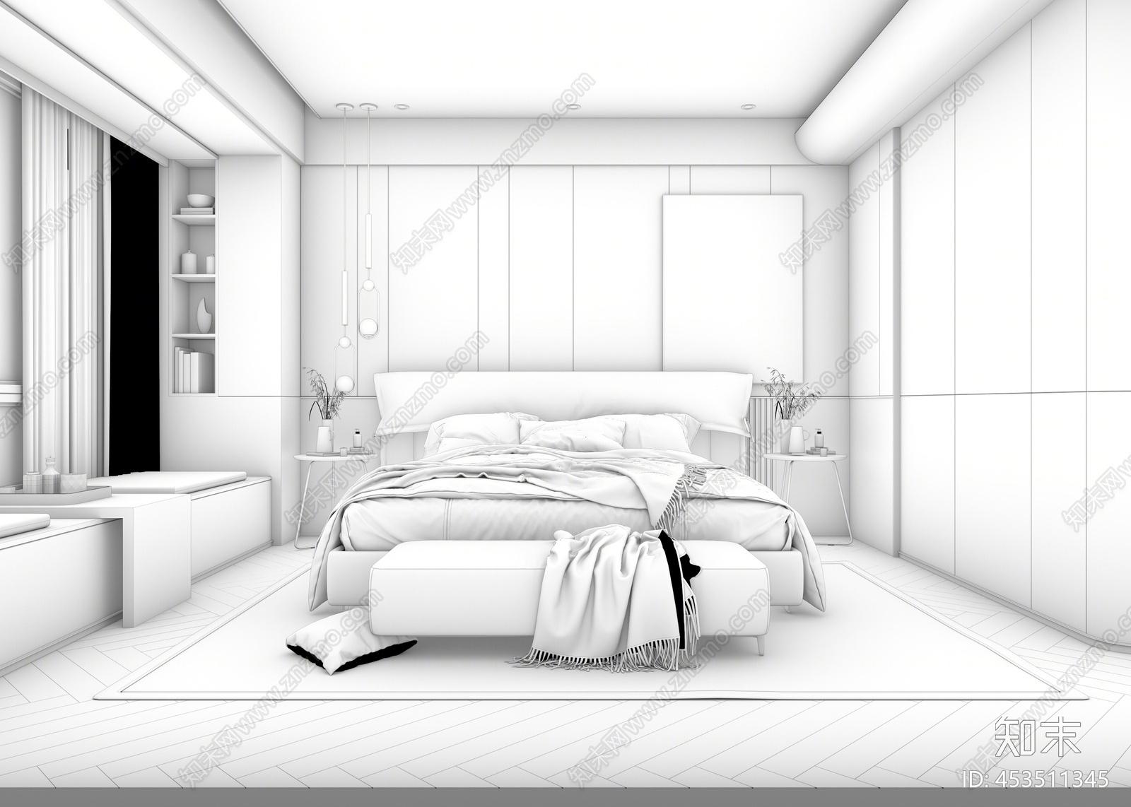 现代轻奢卧室3D模型下载【ID:453511345】