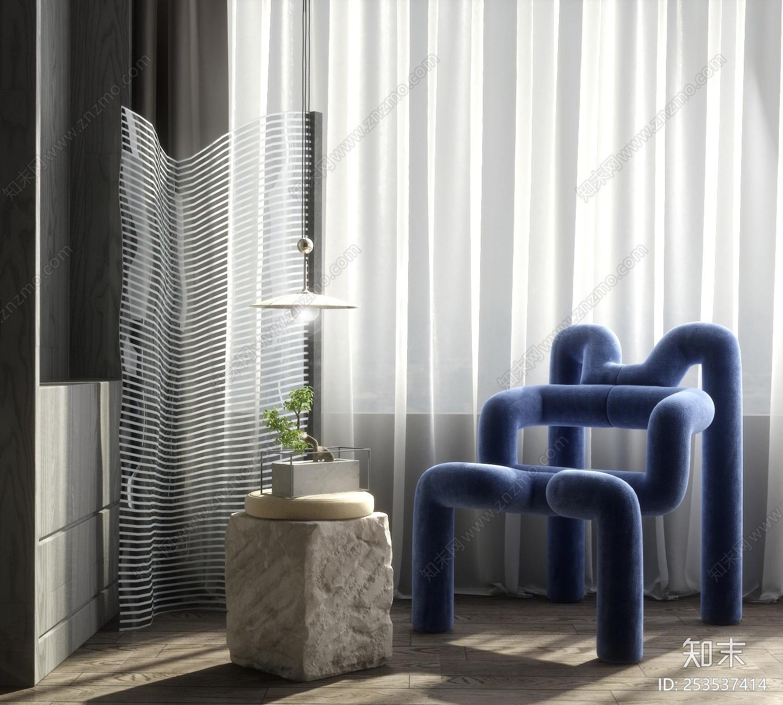 现代轻奢休闲椅3D模型下载【ID:253537414】