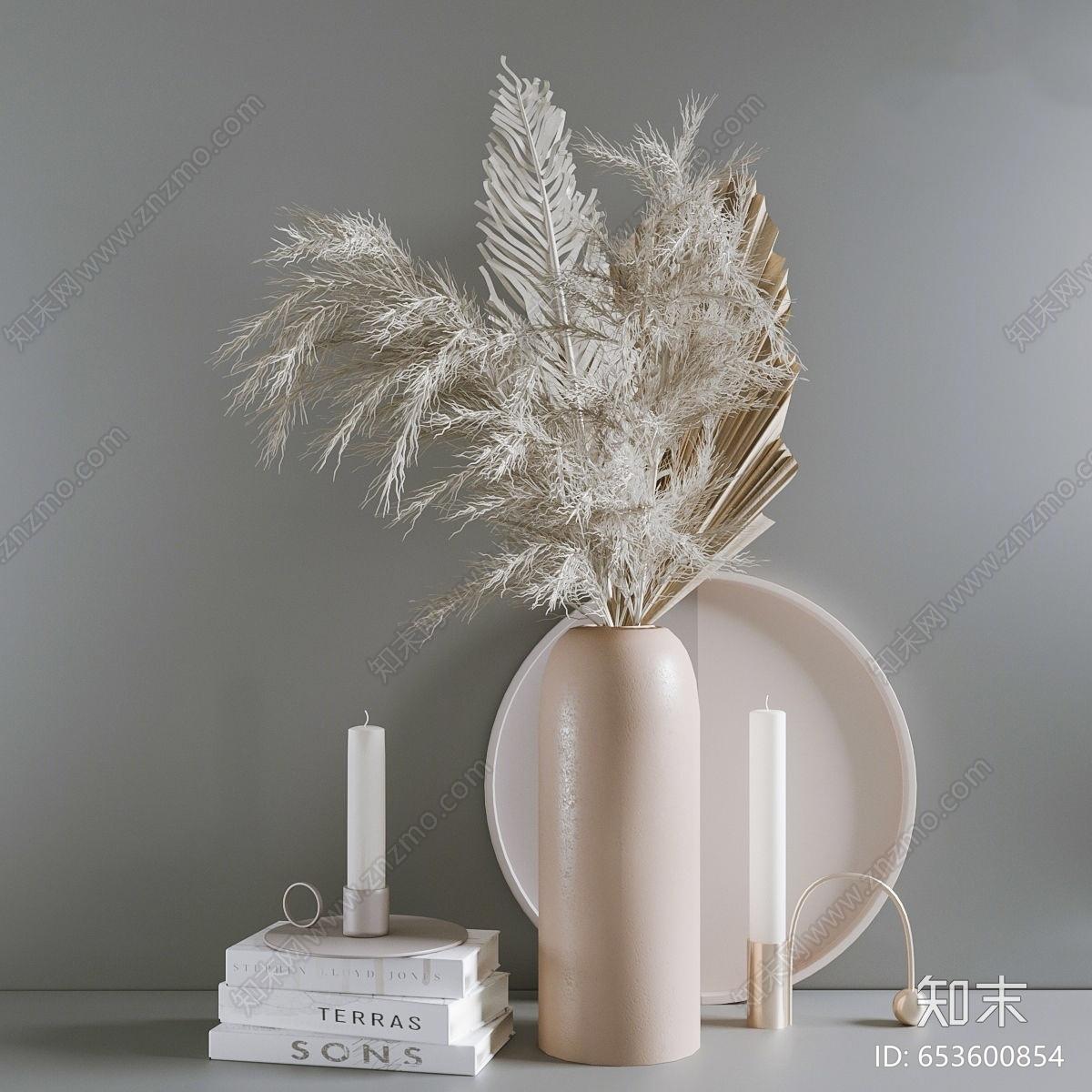 现代芦苇花瓶 书 蜡烛 装饰品组合