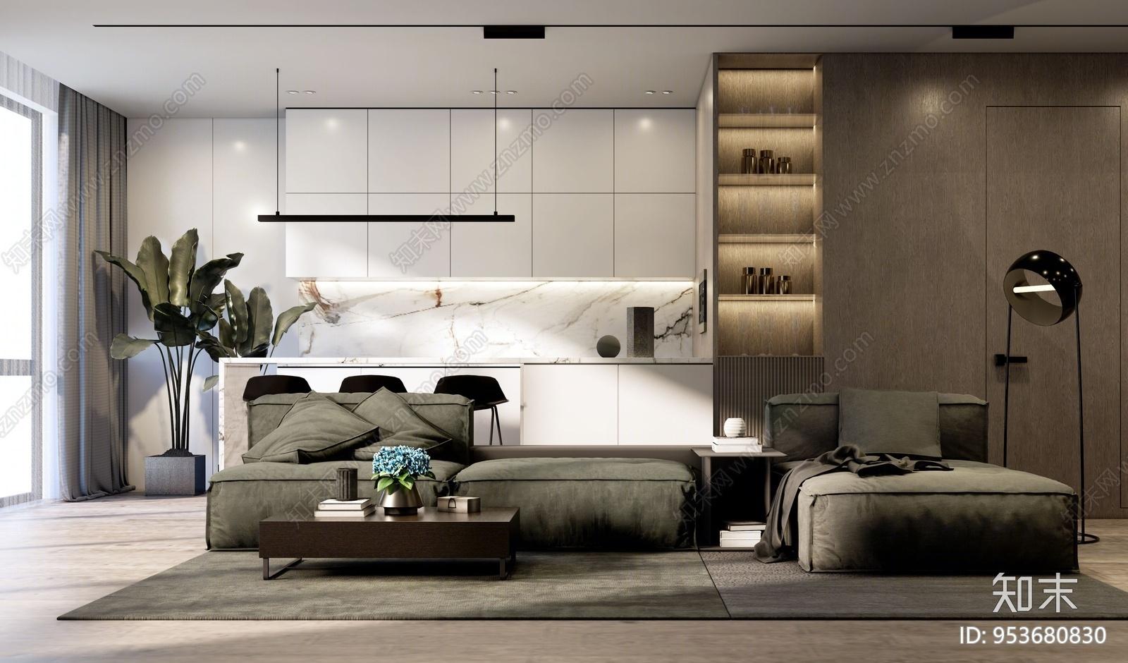现代风格家居客厅 橱柜 吊柜 装饰柜 沙发组合 落地灯 吊灯 绿植