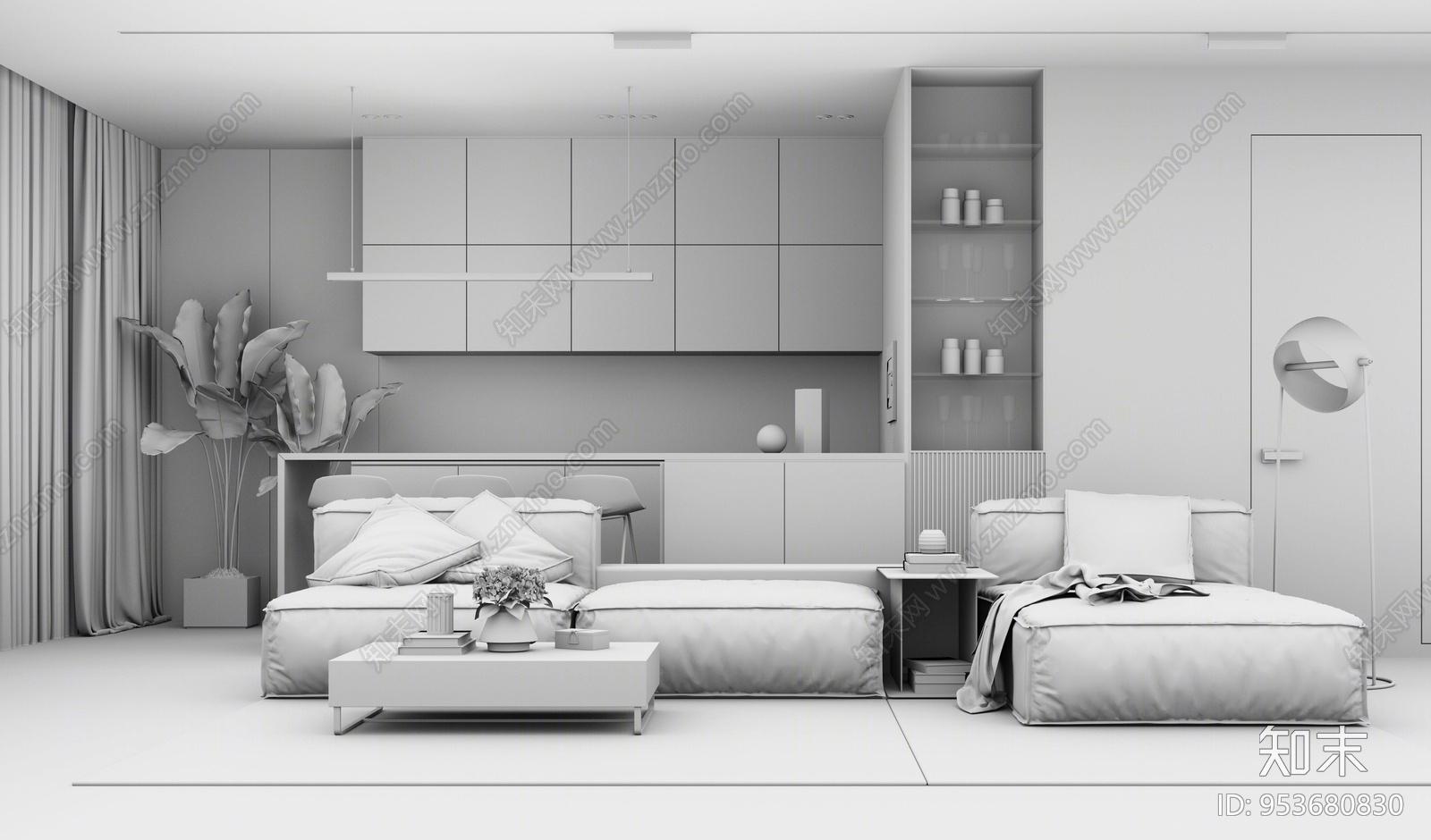 现代风格家居客厅SU模型下载【ID:953680830】