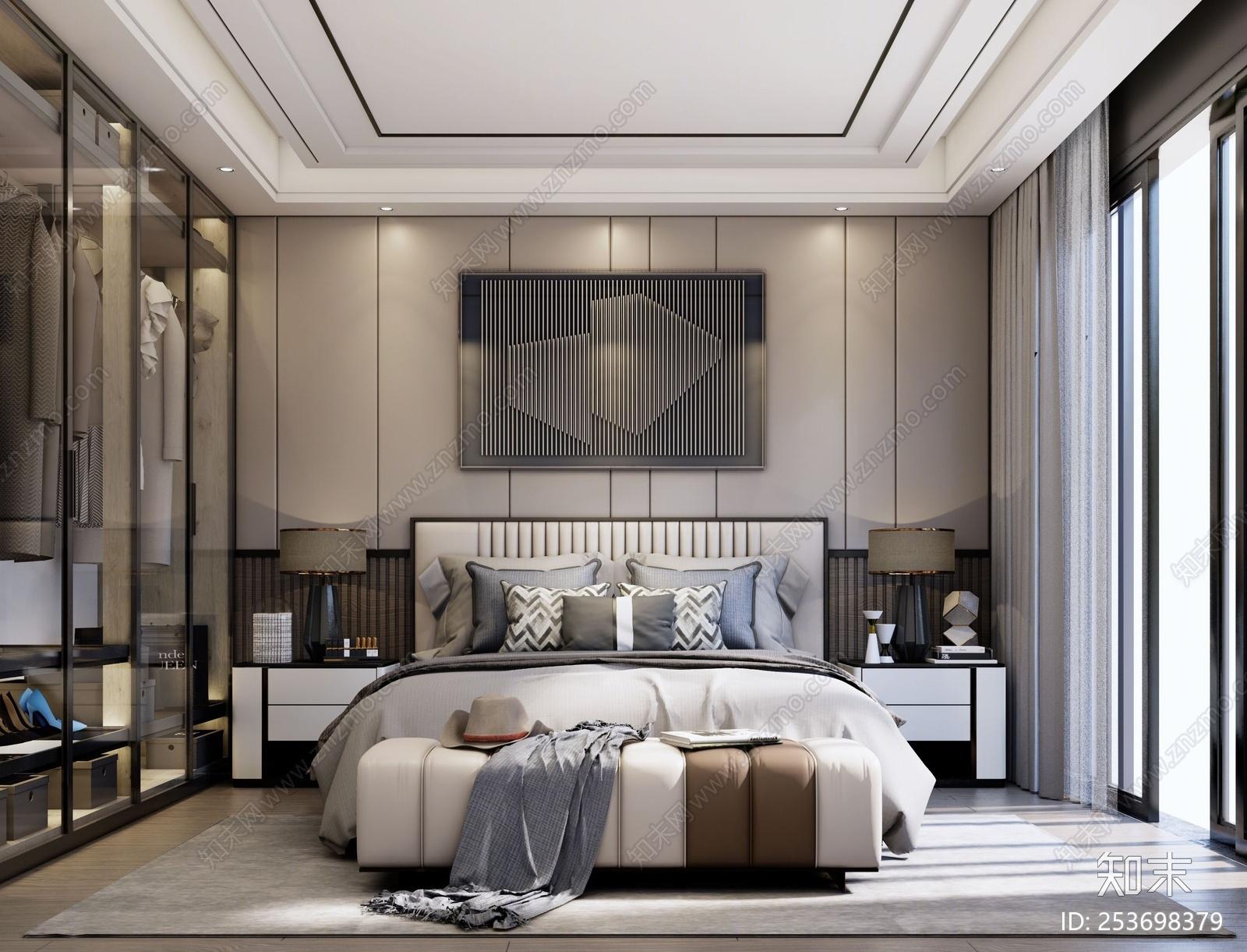 现代风格家居主卧室 衣柜 床组合 床背景墙 台灯 挂画 装饰画 摆件 床尾凳