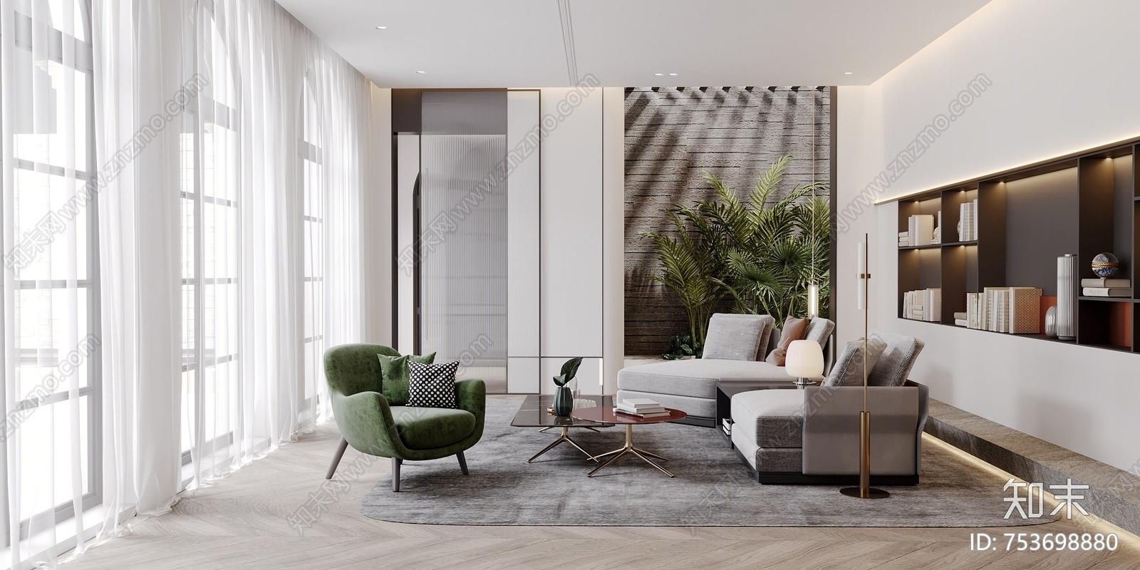 现代客厅书房 休闲椅 多人沙发 沙发茶几 办公桌 书柜