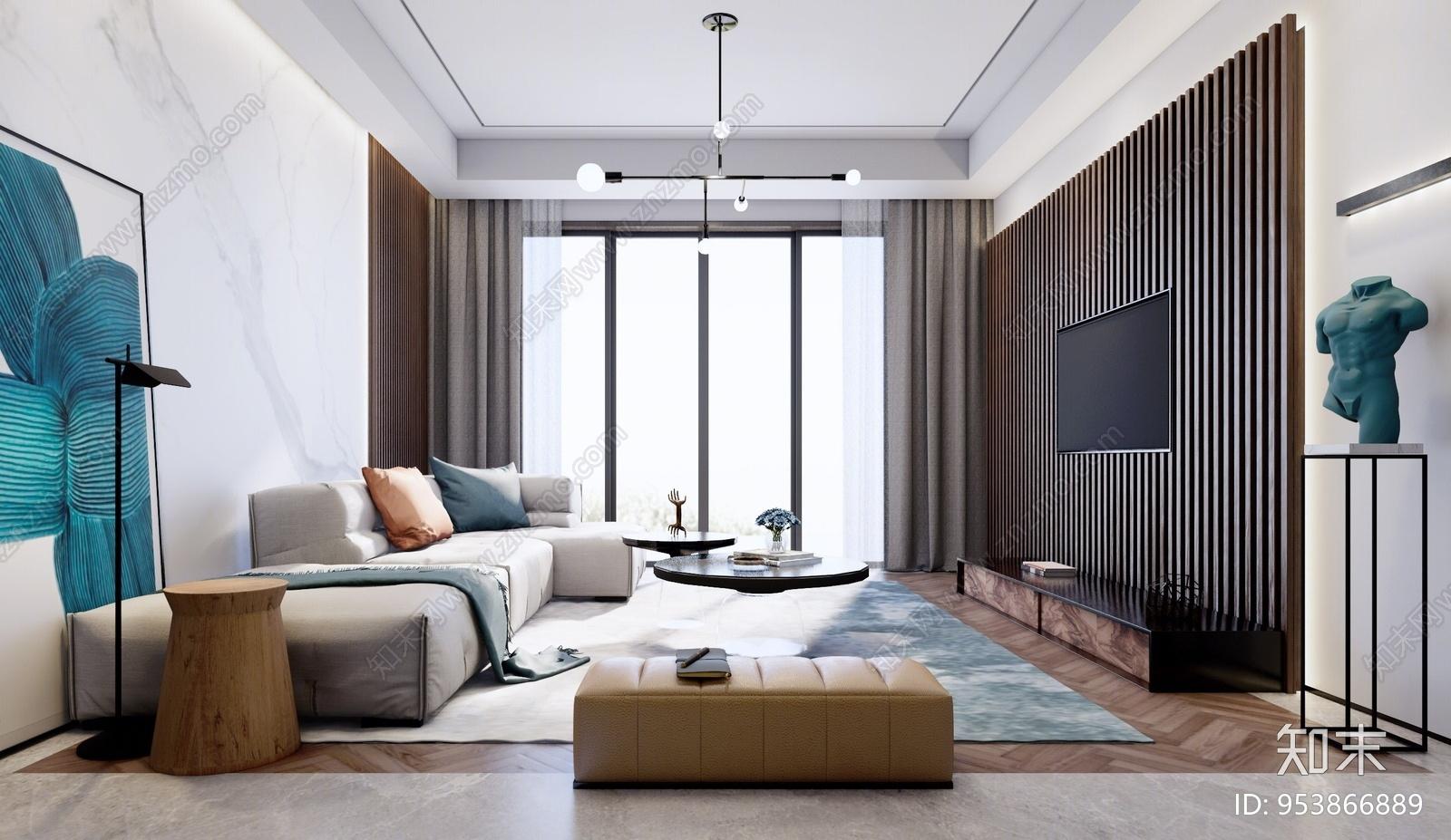 现代风格家居客厅SU模型下载【ID:953866889】