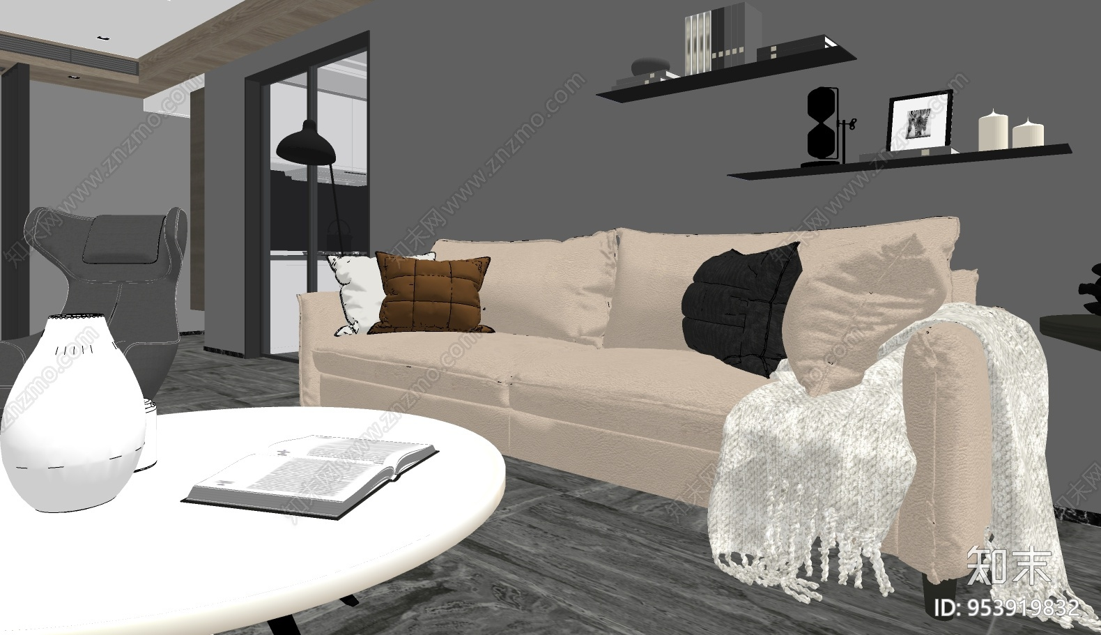 现代风格家居客厅SU模型下载【ID:953919832】
