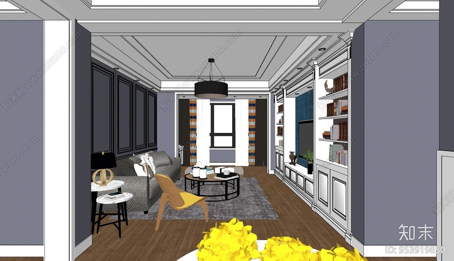 现代风格家居客厅SU模型下载【ID:953919850】