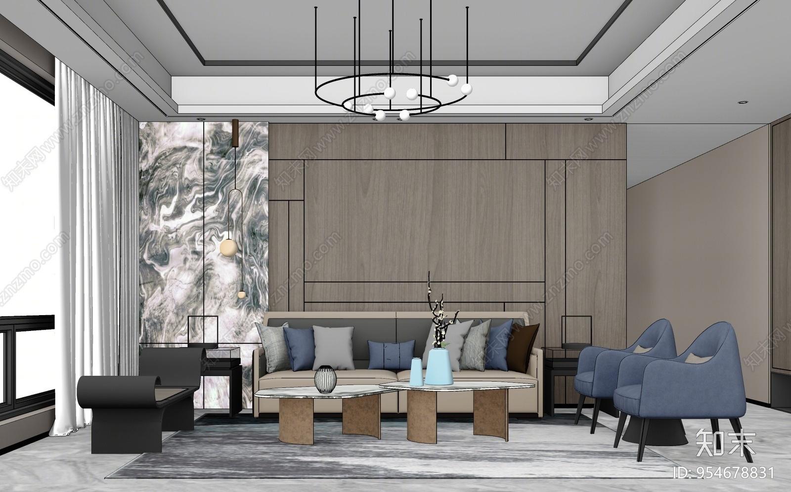 新中式风格家居客厅SU模型下载【ID:954678831】