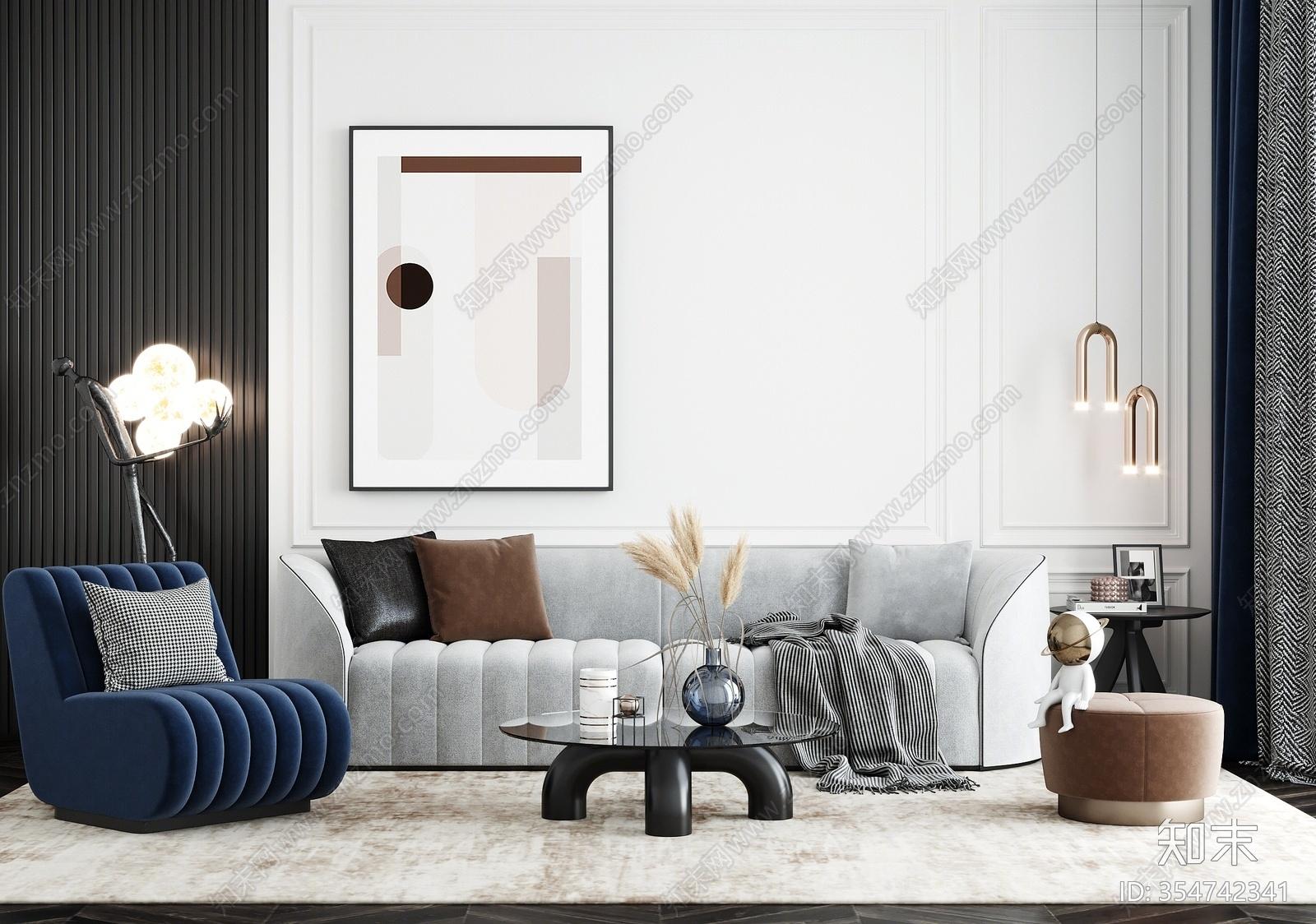 现代轻奢沙发茶几组合3D模型下载【ID:354742341】