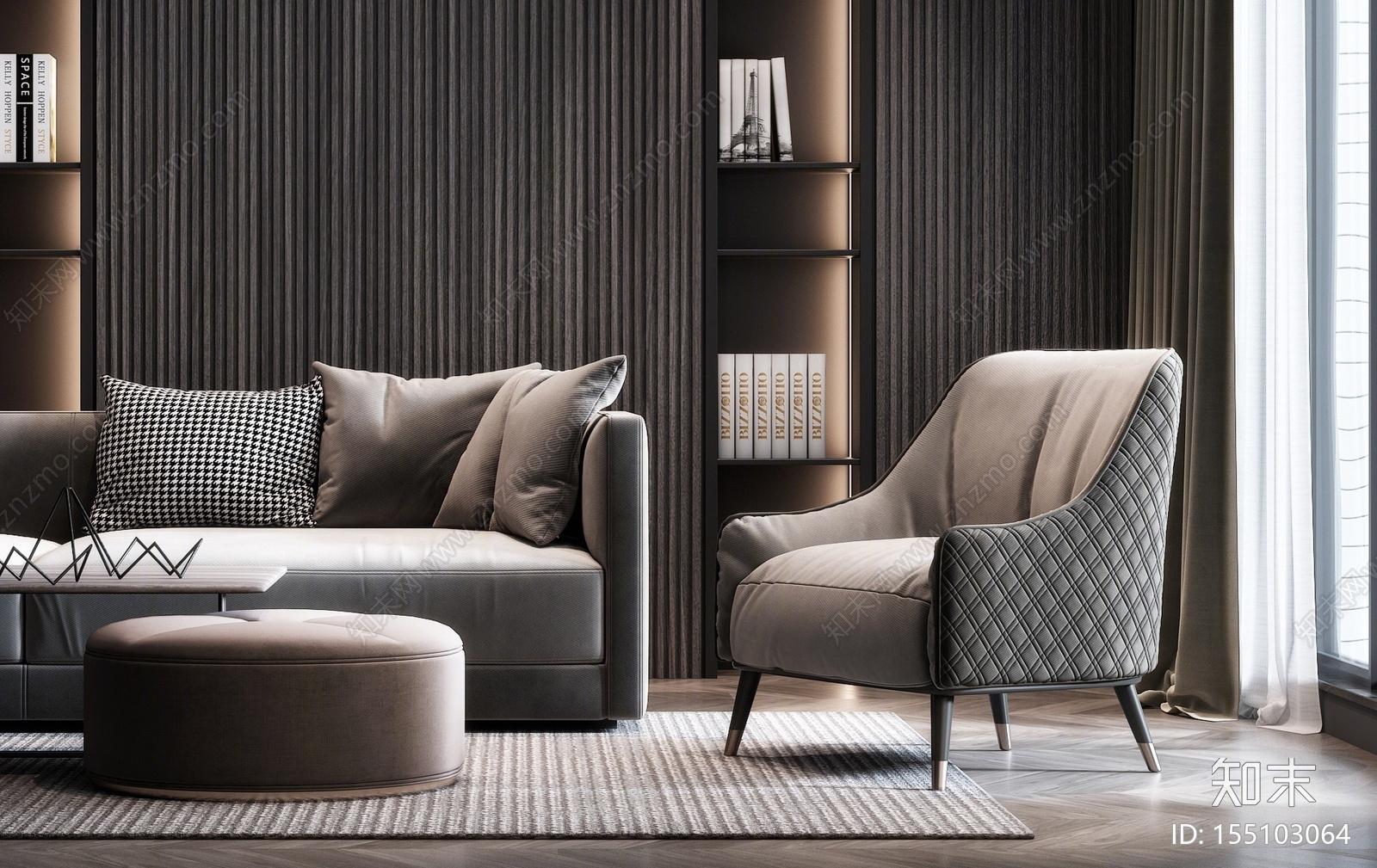 现代沙发茶几组合3D模型下载【ID:155103064】