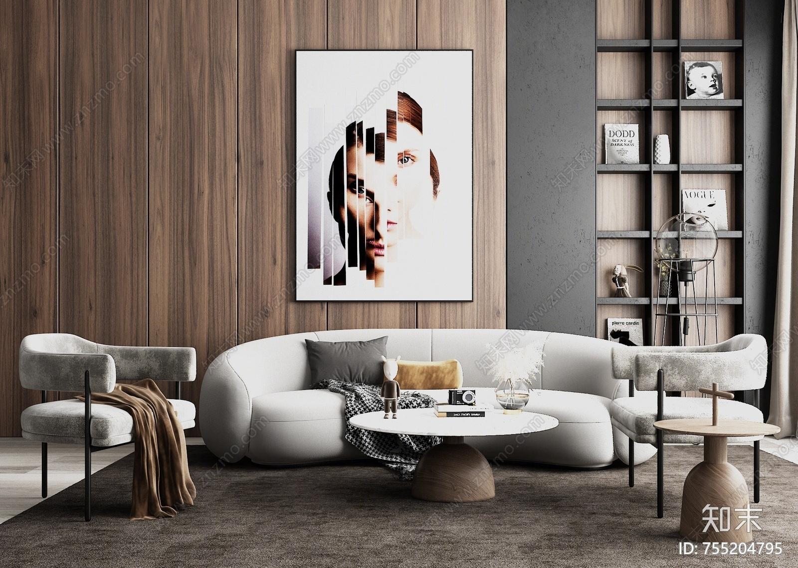 现代沙发茶几组合3D模型下载【ID:755204795】