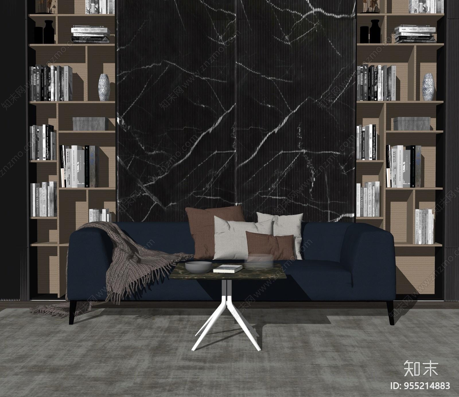 现代风格家居客厅SU模型下载【ID:955214883】