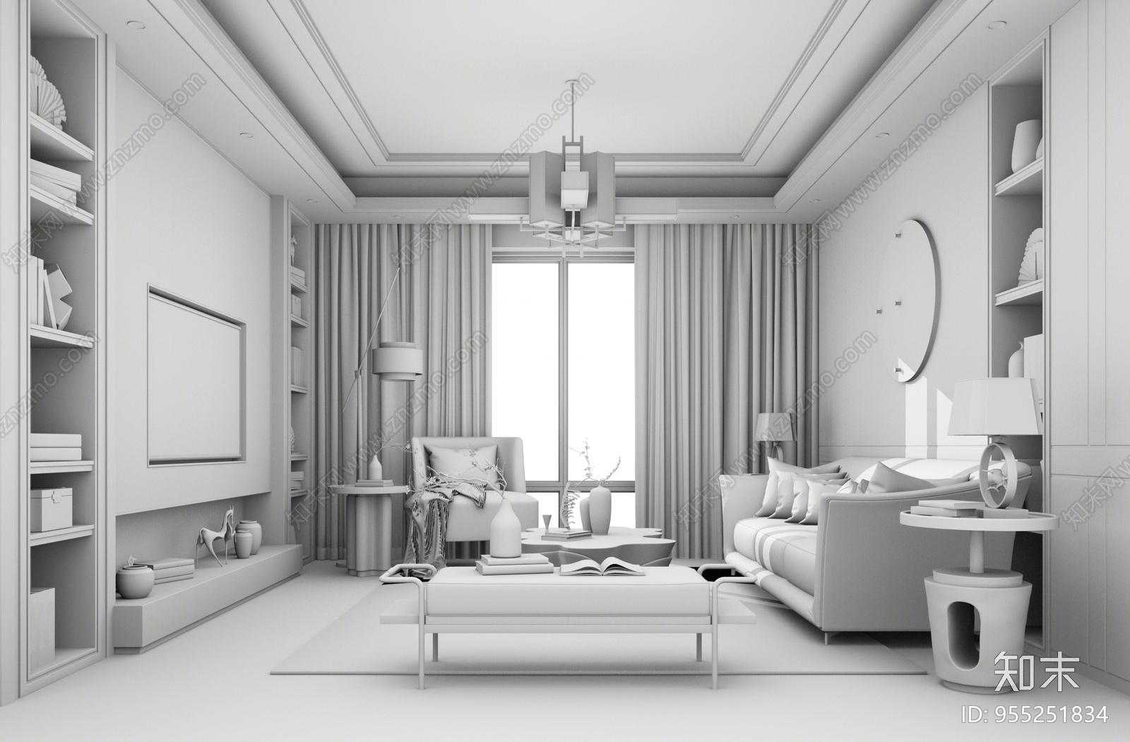 新中式风格家居客厅SU模型下载【ID:955251834】