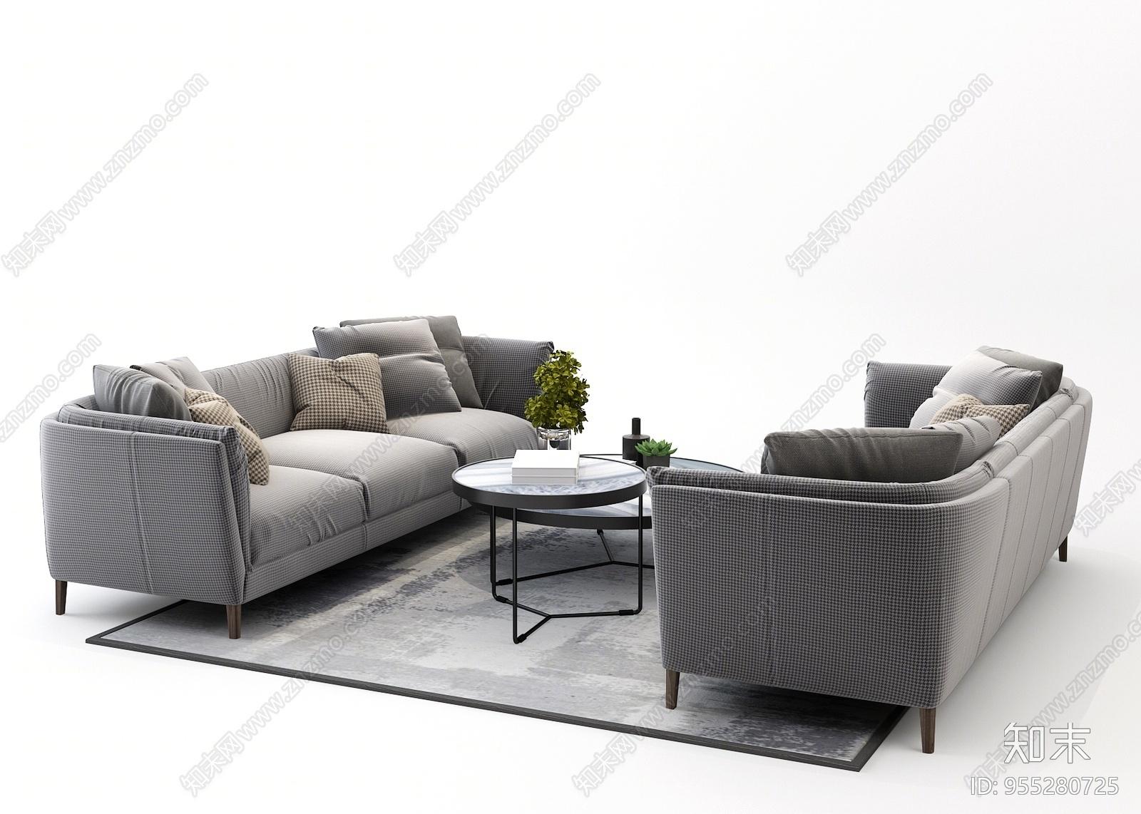 北欧休闲沙发茶几组合3D模型下载【ID:955280725】