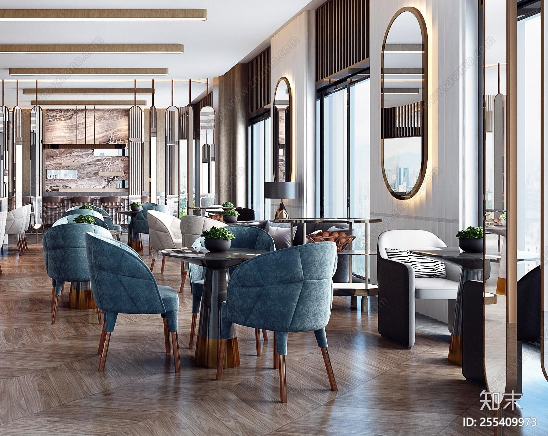 现代轻奢西餐厅3D模型下载【ID:255409973】