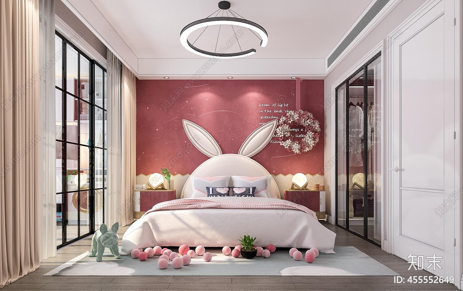 现代粉红色儿童房3D模型下载【ID:455552649】