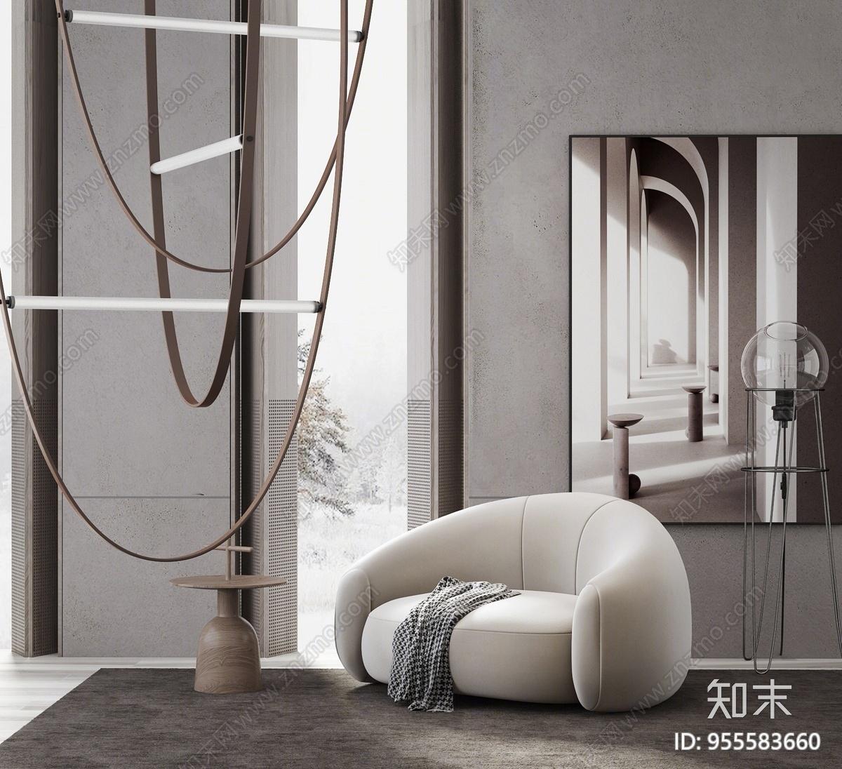 现代单人沙发椅3D模型下载【ID:955583660】