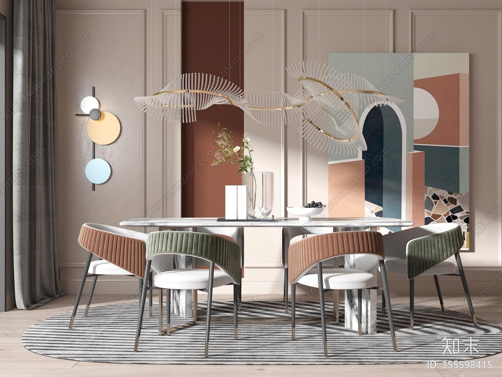 现代餐桌椅组合3D模型下载【ID:355598415】