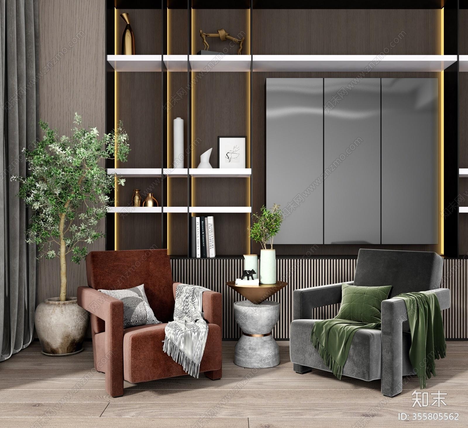 现代单人休闲椅3D模型下载【ID:355805562】