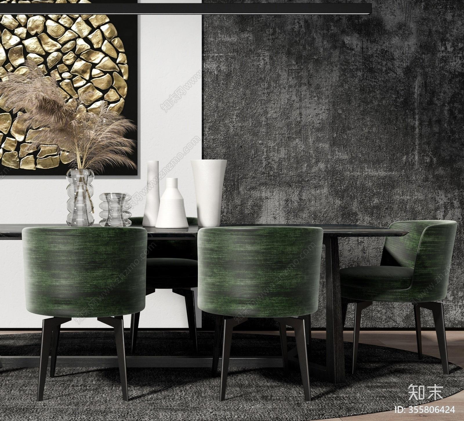 现代餐厅餐座椅组合3D模型下载【ID:355806424】