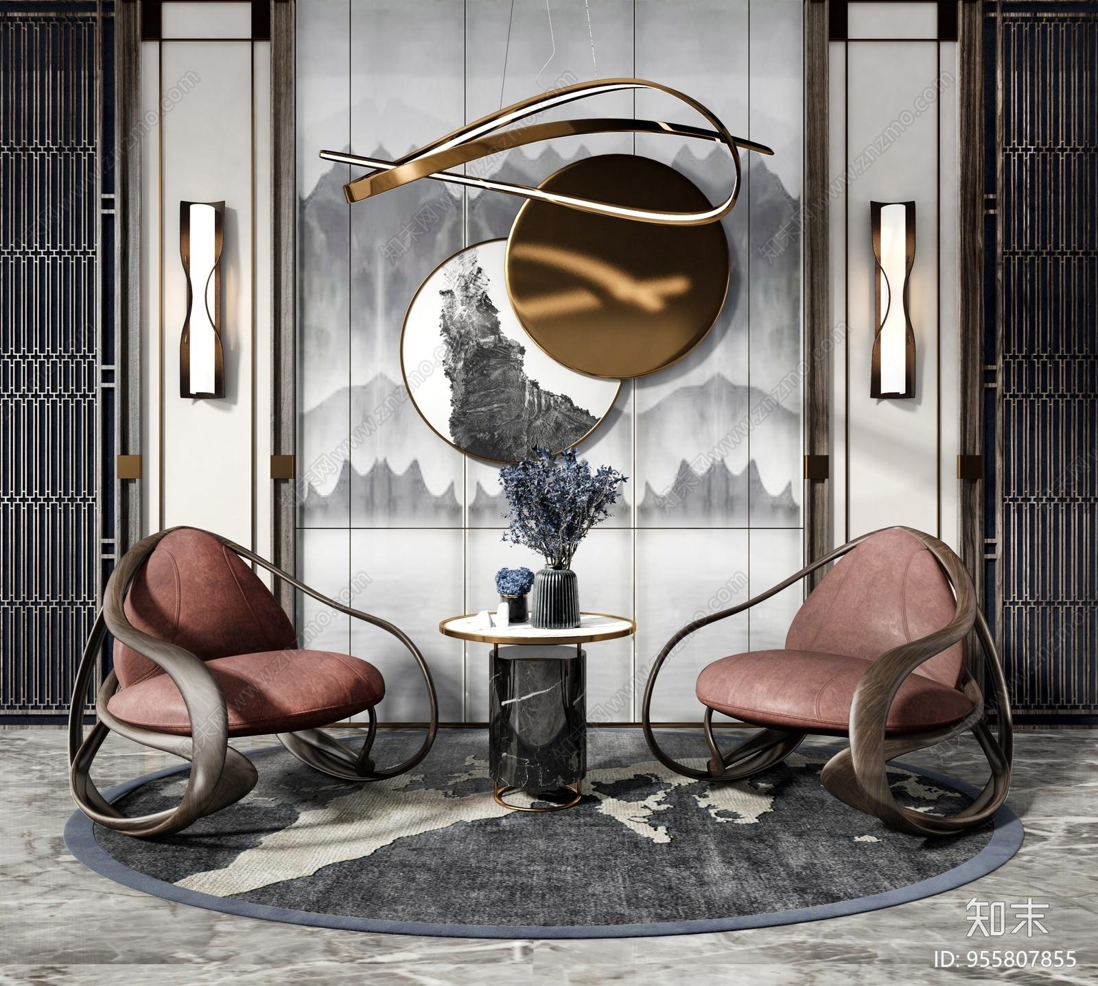 新中式休闲椅边几摆件组合3D模型下载【ID:955807855】