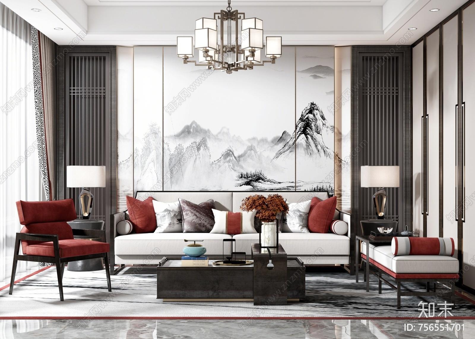新中式客厅沙发组合3D模型下载【ID:756551701】