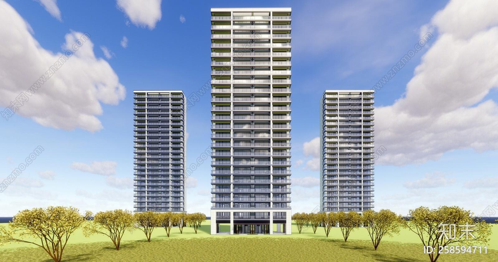 sketchup景观模型库_现代风格高层住宅SU模型下载【ID:258594711】_知末su模型网