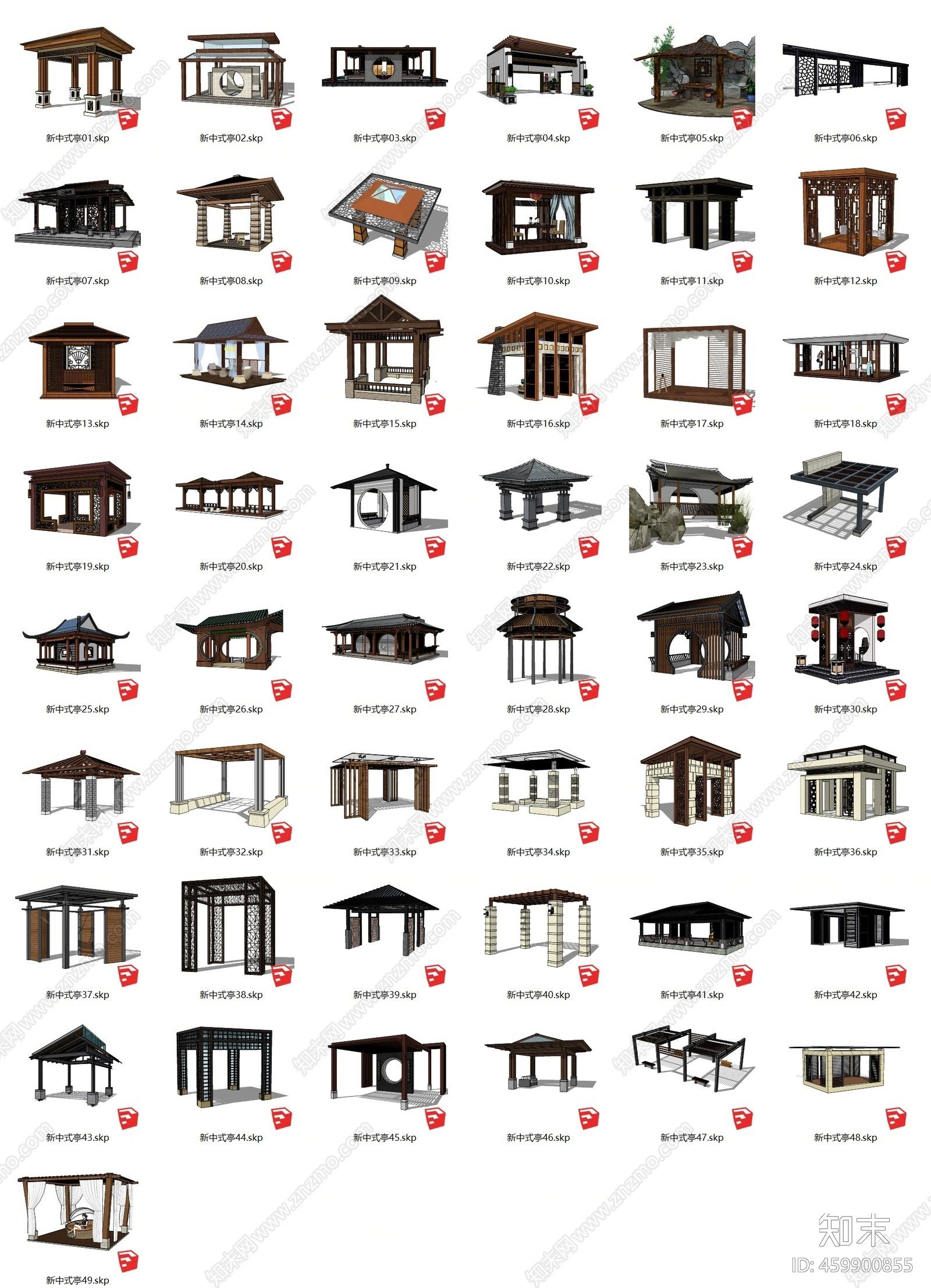 新中式风格亭子SU模型下载【ID:459900855】