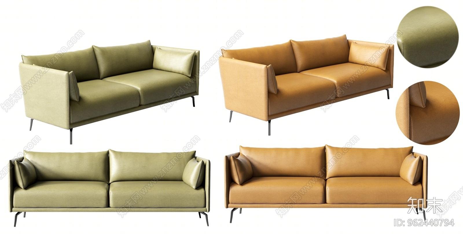 现代皮质沙发3D模型下载【ID:962440794】