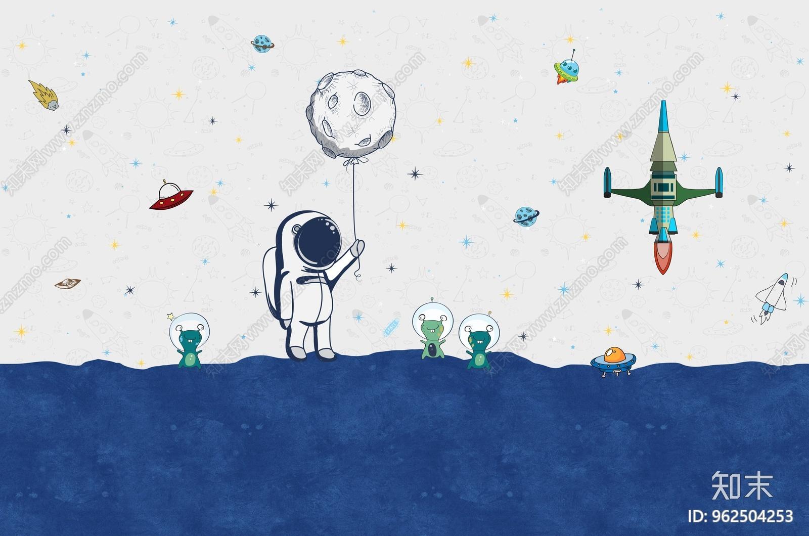 儿童壁纸壁画宇航员贴图下载【ID:962504253】