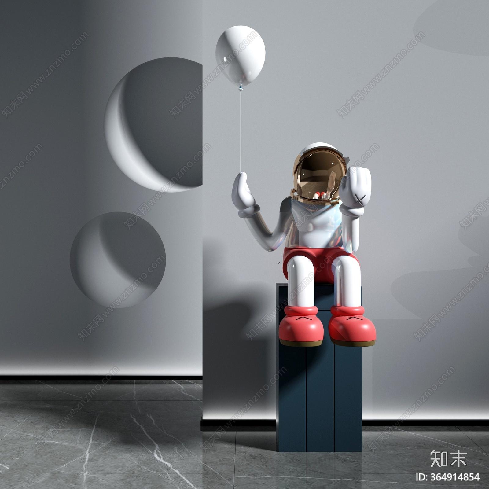 现代雕塑摆件3D模型下载【ID:364914854】