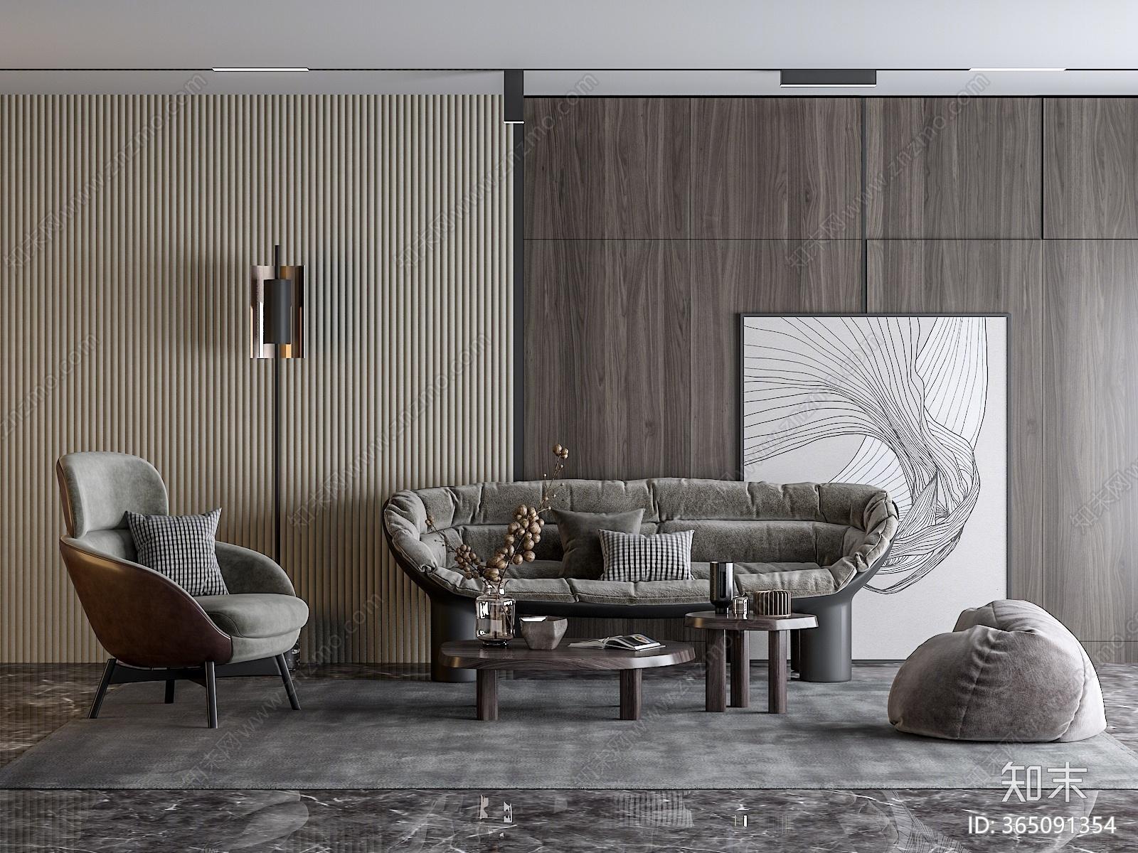 现代沙发茶几组合3D模型下载【ID:365091354】