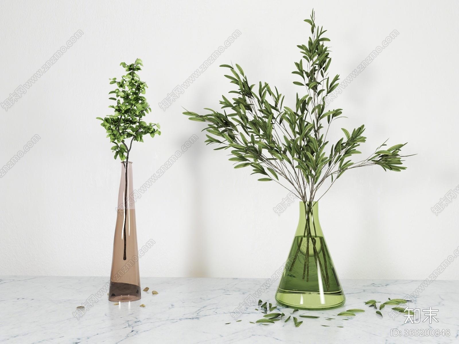 现代绿植盆栽3D模型下载【ID:365200848】