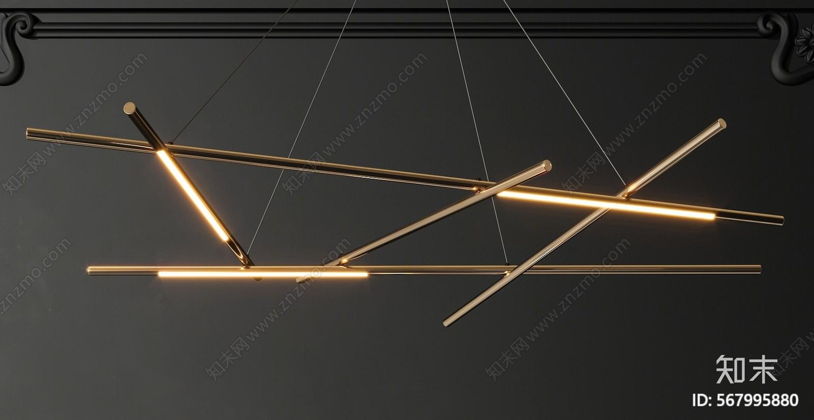 现代LED吊灯组合3D模型下载【ID:567995880】