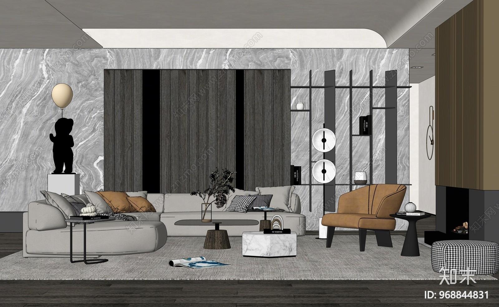 现代风格家居客厅SU模型下载【ID:968844831】