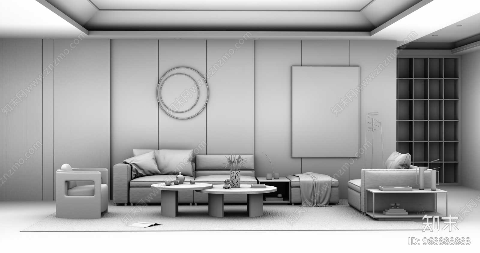 现代风格家居客厅SU模型下载【ID:968888883】